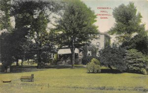 Cromwell Hall, Cromwell, Connecticut, Early Hand Colored Postcard, Used in 1908