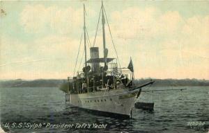 1912 USS Sylph President Tafts Yacht Postcard Leighton Valentine 12674