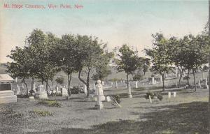 West Point Nebraska~Mt Mount Hope Cemetery~Graves~Tombstones~1909 Postcard