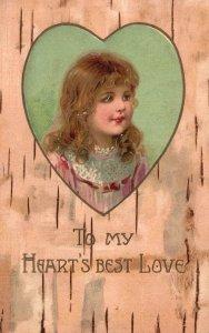 ?Vintage Postcard 1900's To My Heart's Best Love Portrait of Beautiful Girl Art