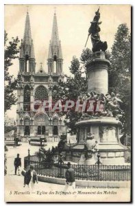 Old Postcard Marseille Church of Reforms and Monument Mobile Trams