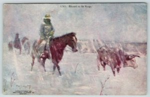 FW Schultz~Cowboy Western Artist~Blizzard on the Range~Horses & Cattle~1907 pc