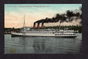 BC Steamer Steamship Princess Victoria Harbour BRITISH COLUMBIA Postcard Canada
