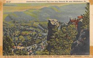 KY Postcard, Kentucky Post Card Cumberland Gap atop Pinnacle Mt Near Middlesb...
