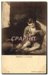 Old Postcard Musee Du Louvre Paris The beggar
