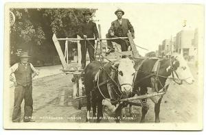 Thief River Falls MN First Horseless Wagon 1916 RPPC Real Photo Postcard
