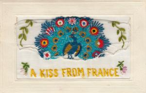 Hand Sewn, 1900-10s; A Kiss from France, Peacock, Insert, To My Dear Wife