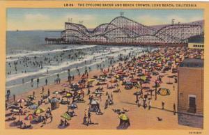 California Long Beach The Cyclone Racer and Beach Crowds Curteich