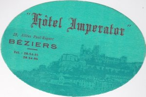 France Beziers Hotel Imperator Green Vintage Luggage Label sk1043