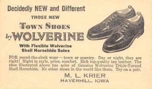 Haverhill Iowa~ML Krier Shoe Store~Wolverine Town Shoes~Shell Horsehide~1951 PC