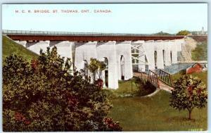 ST. THOMAS, ONTARIO  Canada    M.C.R. BRIDGE  Michigan Central Railroad Postcard