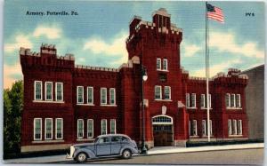 Pottsville, Pennsylvania Postcard ARMORY BUILDING Street View Linen 1942 Cancel