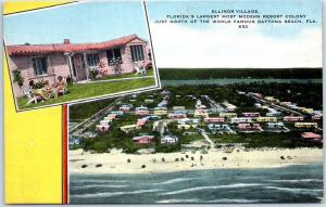 Daytona Beach Florida Postcard ELINOR VILLAGE Resort Colony Air View Linen 1940s