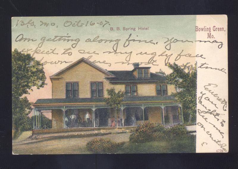 Bowling Green Missouri Bb Spring Hotel Antique Vintage Postcard Louisiana Mo