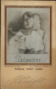 Puzzle Hologram Boy Saturday Fighting Sunday Church 1906 Postcard