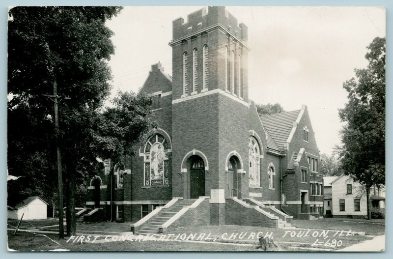 Toulon IL~Esther Lives A Block West Of The 1st Congregational Church RPPC 1948