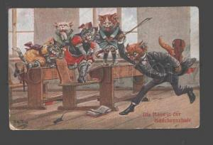 093544 Dressed PUSSY CAT School VIOLINIST by THIELE vintage PC