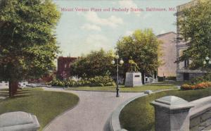 BALTIMORE, Maryland, 1900-1910's; Mount Vernon Place And Peabody Statue