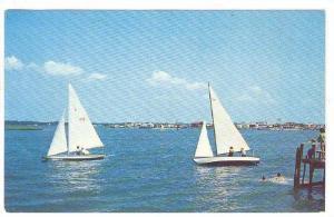 Sail Boats Racing On The Large Bay, Wrightsville Beach, North Carolina, 40-60s