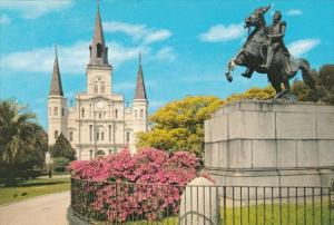 Louisiana New Orleans St Louis Cathedral & Jackson Monument