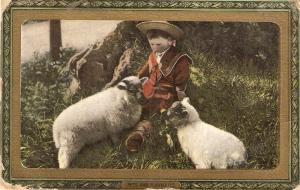 Little boy with  lambs  Tuck All Sorts of Pets Ser.ies  PC # 724