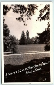 VTG Postcard RPPC Real Photo Iowa State College Ames IA Tower Lawn Grass A5