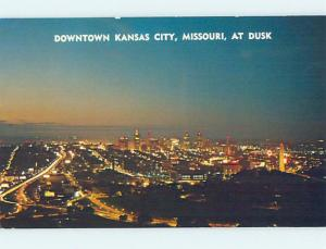 Unused Pre-1980 NIGHTTIME AERIAL VIEW Kansas City Missouri MO F8800