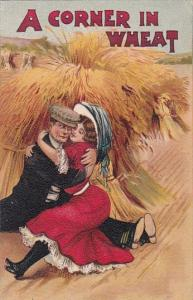 Romantic Couple Man and Woman Embracing A Corner In Wheat