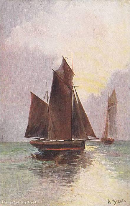 AS: A. Stead, The Last Of The Fleet, Sailboats, 1900-1910s