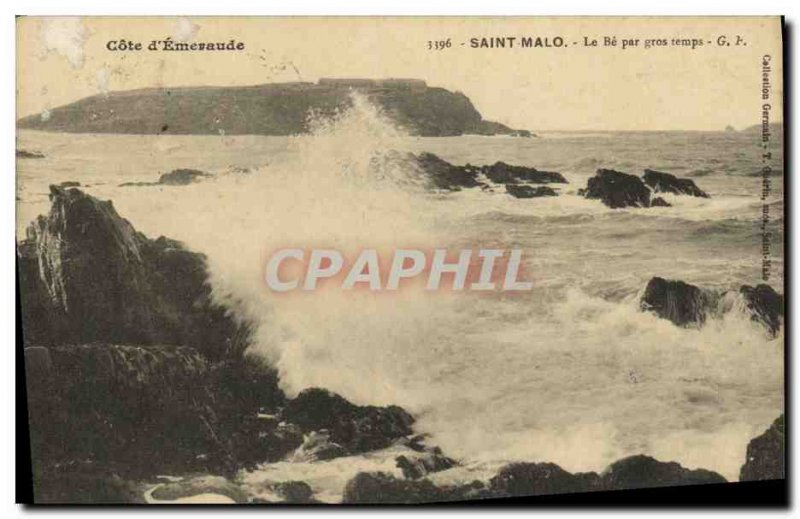 Old Postcard Saint Malo Be rough weather