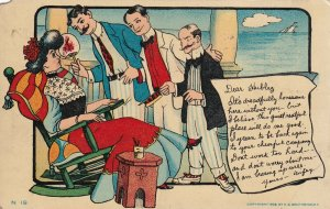 COMIC, PU-1908; Woman relaxing attracting men's attention, Letter to Hubby