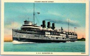 1940s Michigan Linen Postcard STEAMER GREATER DETROIT D&C Navigation Co