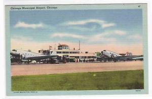 Municipal Airport Midway Plane Chicago Illinois linen postcard