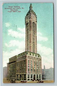 New York City NY-New York Singer Building, Vintage c1909 Postcard