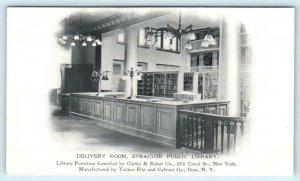 SYRACUSE PUBLIC LIBRARY, New York NY ~ Interior DELIVERY ROOM c1900s  Postcard