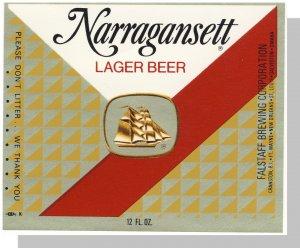 Vintage Narragansett Beer Label,Cranston, Rhode Island/RI, New Old Stock