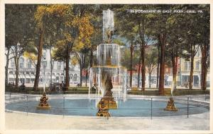 Erie Pennsylvania~East Park Fountain~Reed House Behind~Storefronts~1916 Postcard
