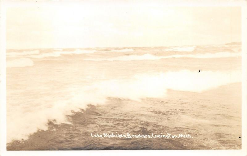 Ludington Michigan~Lake MI Breakers~Crashing Waves~1940s RPPC-Postcard