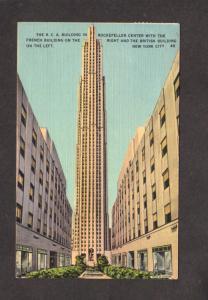 NY RCA Bldg Rockefeller Center French British NYC New York City Postcard