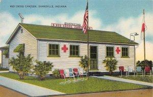 RED CROSS CANTEEN Evansville, Indiana Vintage Linen Postcard ca 1940s
