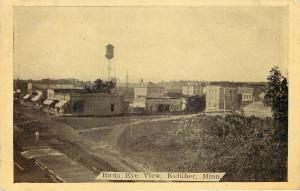 Kelliher Minnesota~Bird's Eye~Watertower~Shops~Business~Dirt Road~1912 B&W