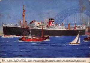 Blue Star Liner Australia Star Postcard