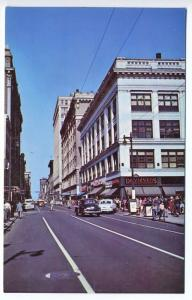 Louisville KY Fourth Street Store Fronts Old Cars Postcard