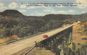West Virginia Turnpike~Charlton Memorial Bridge over Bluestone Gorge~Info on Bk