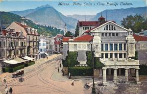 1905-1915 Postcard, Merano Italy Theatre Teatro Civico e Corso Principe Umberto