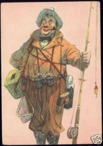 Russian Comic, Fisher, Casting Rod, Pipe, Field Glasses