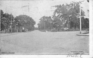 Goshen New York Church Park Street View Antique Postcard K80496
