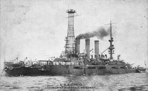U.S.S. Ohio, U.S. Navy 1909 Postcard, Unused