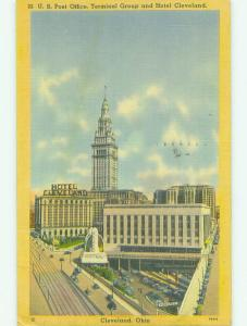 Linen POST OFFICE & CLEVELAND HOTEL Cleveland Ohio OH HQ3416