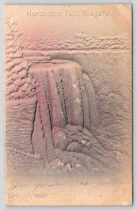Niagara Falls New York~Horseshoe Falls~Gray Pink Airbrushed~1907 Embossed IPCC